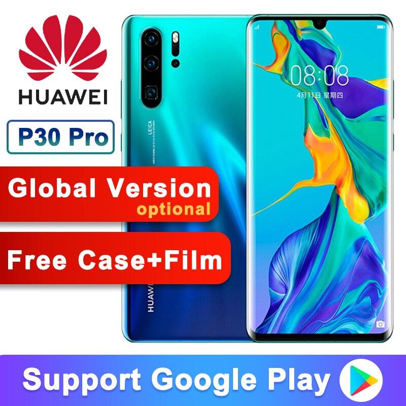 Téléphone portable d'origine Huawei P30 Pro Kirin 980 2.6GHz Android 9.1 6.47 ''OLED 2340X1080P IP68 NFC 4 caméras 40MP 50X Zoom numérique