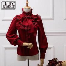 Vintage Lolita Chiffon Shirt Blouse For Women Long Sleeve Stand Collar Elegant Female Gothic Belt Lace Girl Red Black Blue White