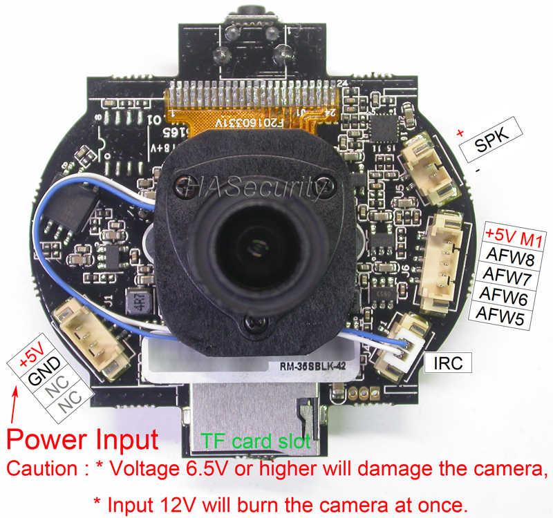 """WiFi 720P 1/4 """"H42 CMOS przetwornik obrazu + GM8135s kamera IP moduł CCTV PCB + gniazdo tf płyta + obiektyw M12 3.6mm + antena FPC"""