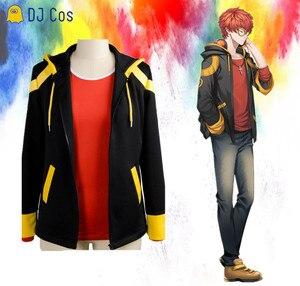 Disfraz de Cosplay de Seven Mystic Messenger, Saeyoung Choi, chaqueta de Cosplay con cremallera, Sudadera con capucha de Luciel 707, camiseta roja, peluca corta naranja, 707