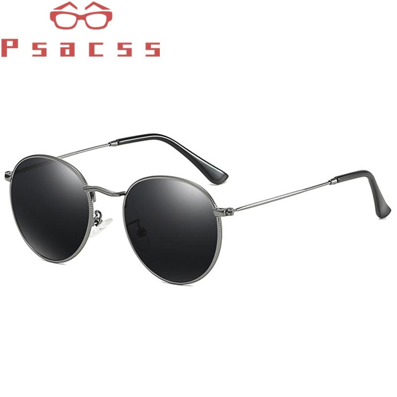 Поляризационные Круглые Солнцезащитные очки PSACSS 2020 для женщин и мужчин с небольшой металлической оправой, фирменный дизайн, винтажные очки для отдыха, UV400|Женские солнцезащитные очки|   | АлиЭкспресс