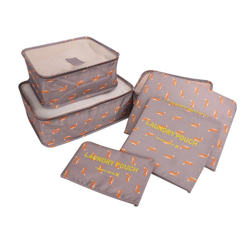 JULY 'S DOSAC 6Pcs/Set Travel Bag Clothing Organizer Packing Bag Portable Big Capacity Case Luggage Zipper Storage