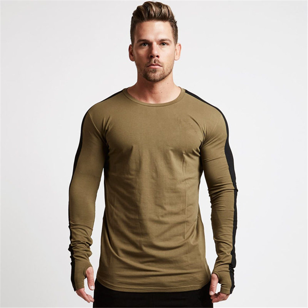Long Sleeve Cotton Tshirt Running Sport T-shirt Men Gym Fitness Workout Skinny Tees Tops Spring Male Jogging Training Clothes