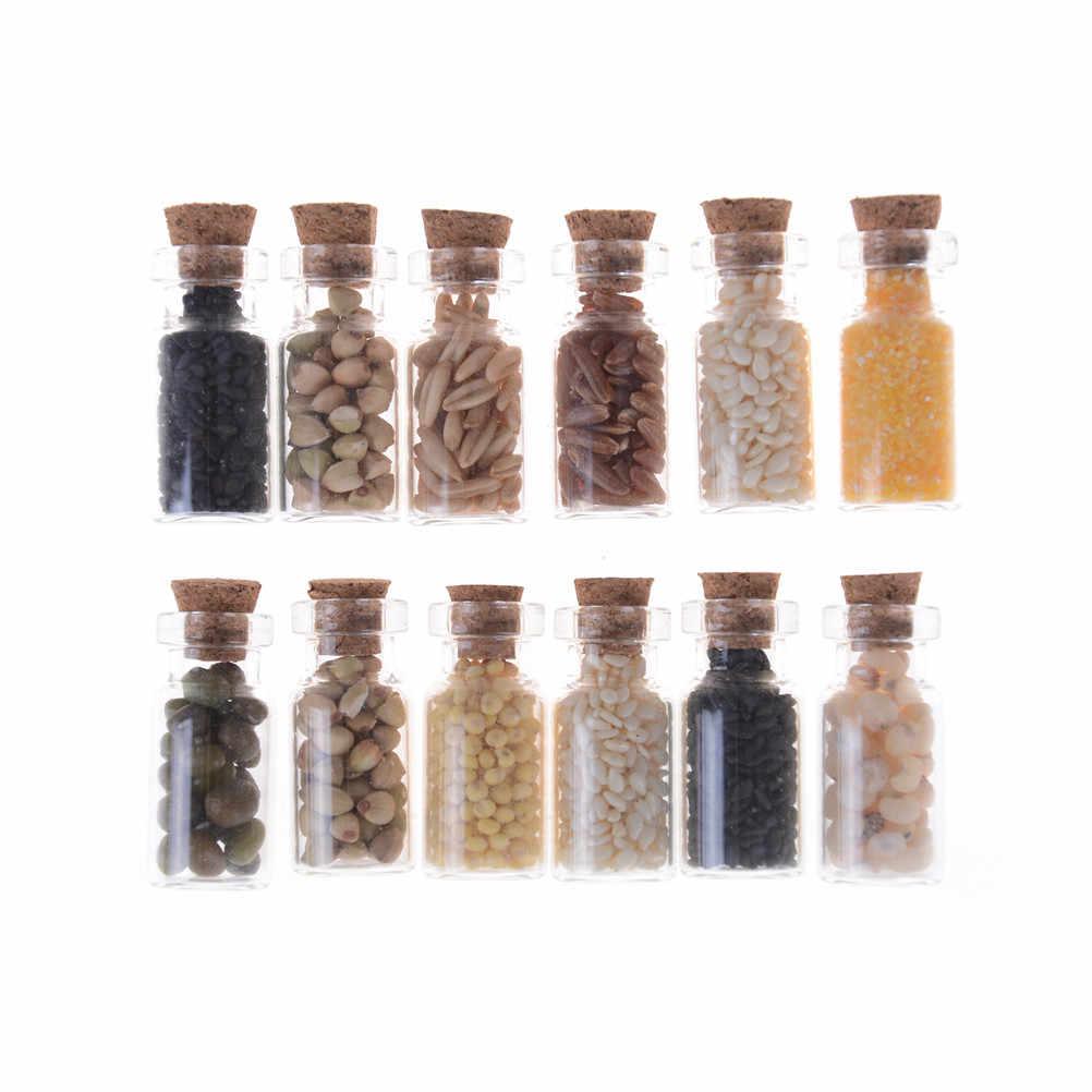 4 pz/lotto Vaso di Vetro con Secchi Cibo Coperchio per la Cucina Accessorio Bambole Accessori Mobili giocattoli 1/12 Miniatura casa delle bambole