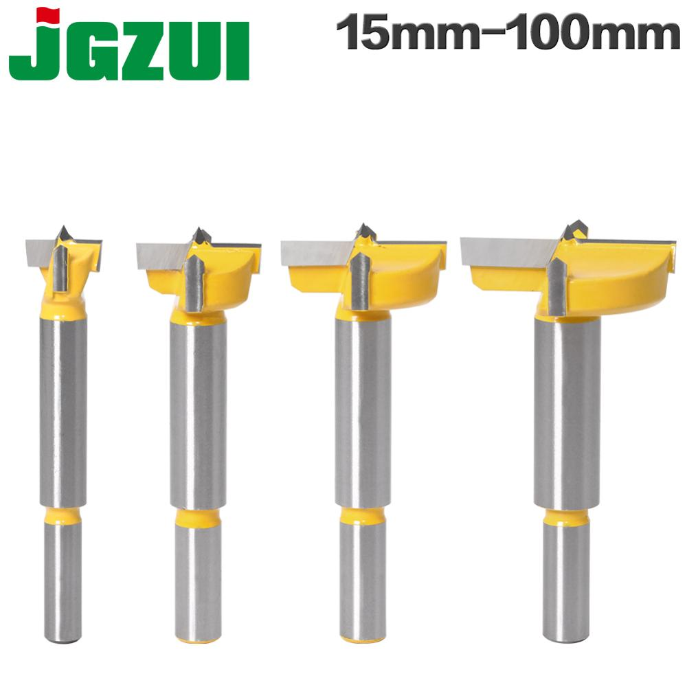 1pcs15mm-100mm Forstner tips Woodworking tools Hole Saw Cutter Hinge Boring drill bits Round Shank Tungsten Carbide Cutte