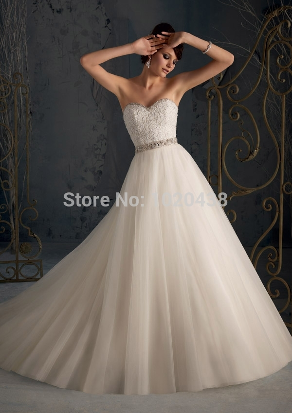 Stunning Strapless Backless Lace Ivory Waist Beaded Tulle Royal Train Bridal Gown Vestido De Noiva Plus Bridesmaid Dresses