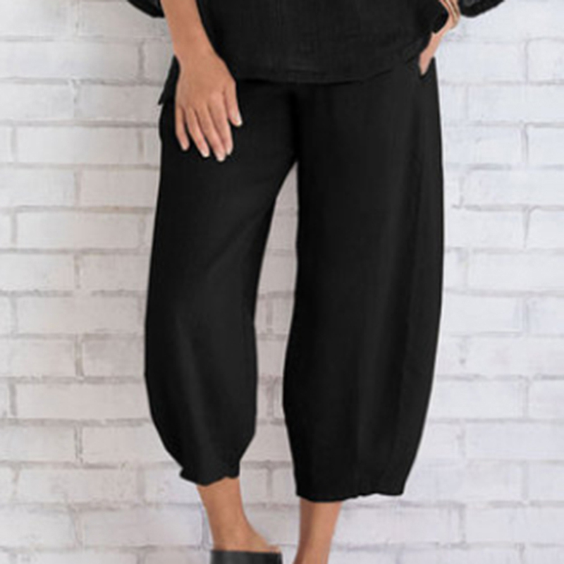 Elastic Waist Loose   Wide     Leg     Pants   Spring Summer Women 2019 Fashion   Pant   Women Casual Solid Color Calf Length   Pants