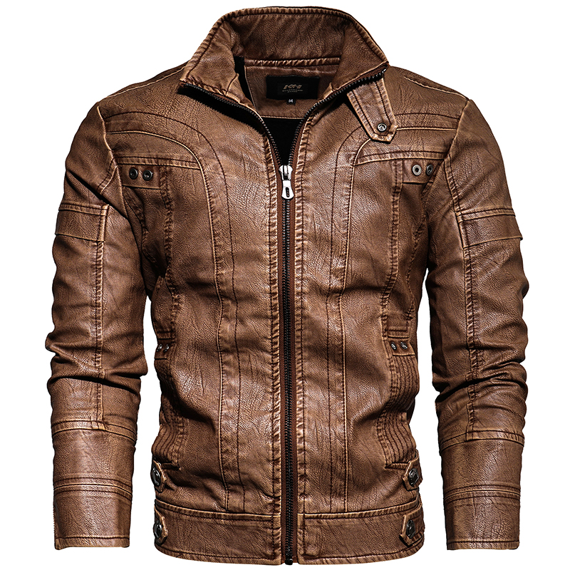 Mens Leather Jackets Motorcycle Stand Collar Zipper Pockets Male US Size PU Coats Biker Faux Leather Fashion Outerwear