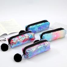 Sequin Pencil Case Hairball Estuche Escolar Kawaii School Supplies Pencilcase Estuches Trousse Scolaire Stylo Pencil Box