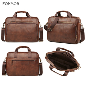 Image 4 - Fonmor Men Genuine Leather Briefcase 15.6Laptop Messenger Bags Female Business Crossbody Shoulder Bags Casual Tote Handbag New