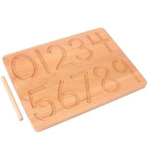 Image 3 - Placa de brinquedo montessori, brinquedo para matemática de reconhecimento digital, 0 9, prática para crianças, prática de treinamento pré escolar, madeira