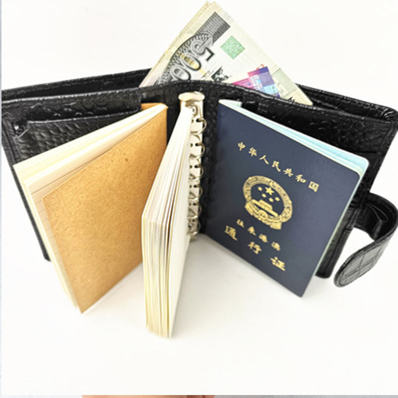 Yiwi Presell Genuine Leather Rings Notebook A7 Binder Blue Agenda Organizer Cowhide Diary Journal Sketchbook Planner Pocket