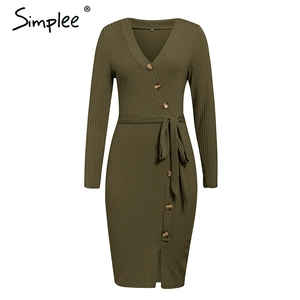 Image 5 - Simplee Sexy sheath women party dress High waist v neck single breasted winter dress Long sleeve lady autumn work wear vestidos