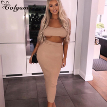 Colysmo 2020 Two Piece Set Crop Top And Long Skirt Set Sexy 2 Piece Set Women Bodycon Woman Clothes Club Outfits Matching Sets plus size sexy 2 piece matching sets summer clothes for women slash neck long sleeve crop top and bodycon mini skirt tracksuits