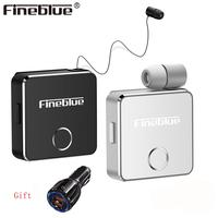 Fineblue F1 Newest Luxury Wireless business Bluetooth 5.0 Headset Sport Driver Earphone Telescopic Clip on stereo earbud Vibrate