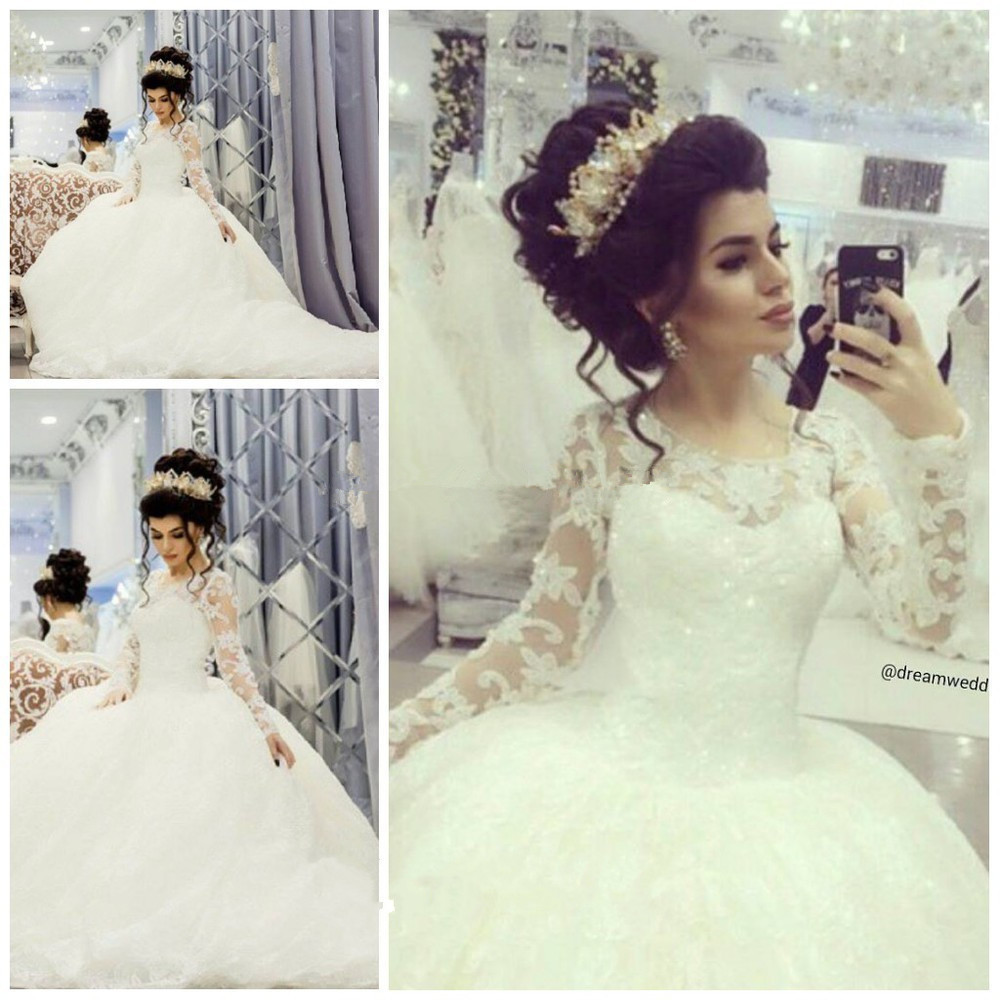 New Elegant Romantic Bride Scoop Robe De Mariee Vintage Royal Style Lace Long Sleeves Ball Gown 2018 Mother Of The Bride Dresses