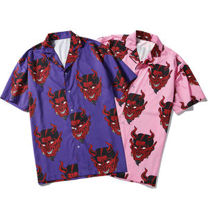 Men Shirt Men Short sleeve Shirt Beach Shirt fashion Print Button Streetwear Devil Shirts Hawaiiaanse Shirt men Beach shirts