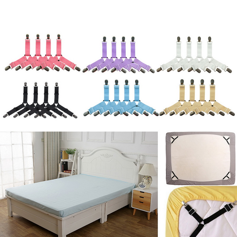 New 4pcs/set Elastic Bed Sheet Clips Suspenders Straps Adjustable Heavy Duty Grippers For Home Bed Sheet Clips