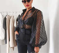 Women Polka Dot Retro Mesh Shirt Blouse Lady Early Autumn Modern Vogue See-through Loose Button Puff Sleeve Blouse High Street