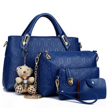 Fashion 4pcs/Set Women Bag Ladies PU Leather Luxury Designer