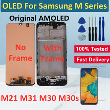 OLED لسامسونج غالاكسي M31 M21 M30 M30s LCD عرض تعمل باللمس محول الأرقام لسامسونج M21 M31 M30s الأصلي LCD استبدال الشاشة