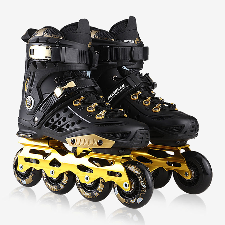Skate Roselle Inline Skates Black Golden Professional Slalom Inline Skates Roller Free Skating Shoes Sliding Patines JEERKOOL