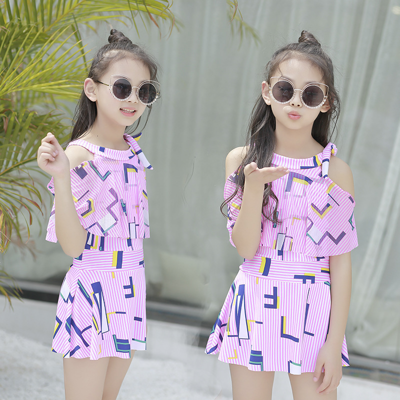 2019 New Style Bathing Suit Women's Big Boy One-piece Swimwear Korean-style Cute Sweet Printed Beach Hot Springs Students Bathin