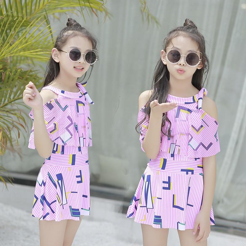 2019 New Style Bathing Suit Women's Big Boy One-piece Swimwear Korean-style Cute Sweet Printed Beach Hot Springs Students Bathin
