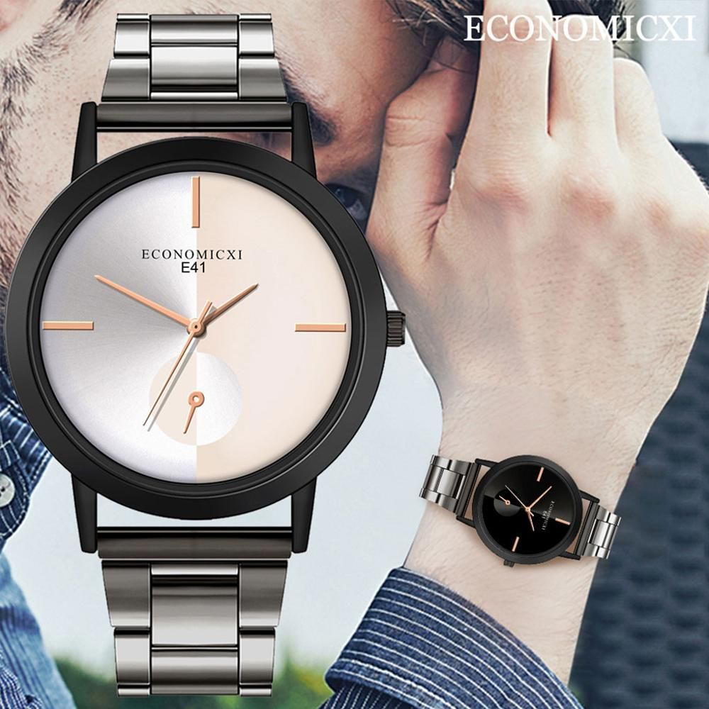 Fashion Casual Men's Sport Watch Stainless Steel Case Band Quartz Analog Wrist Watch Male Clock Unisex Lover's Watch Clock A40