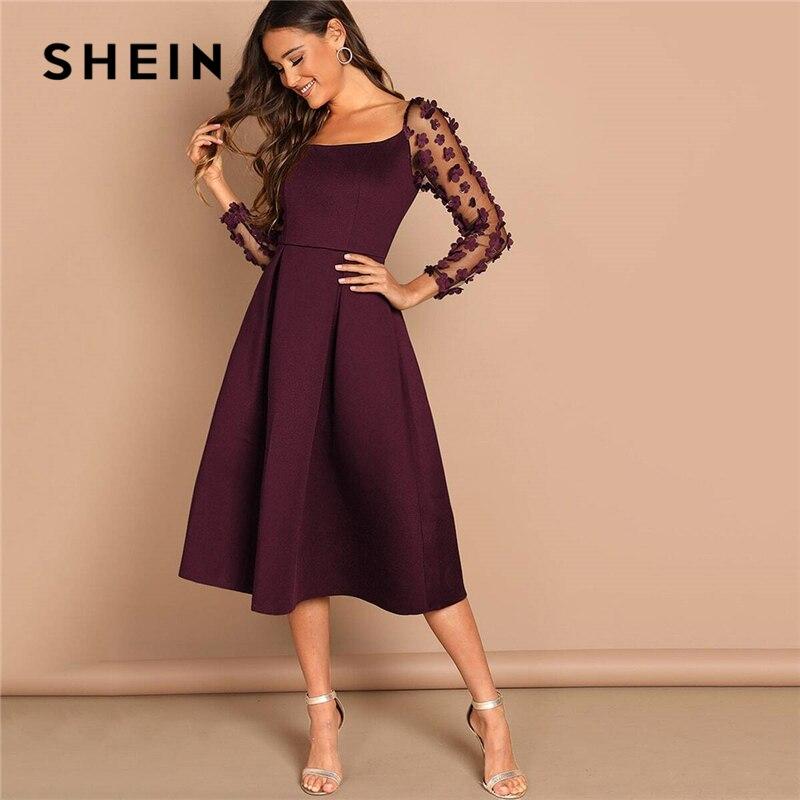 SHEIN Платье Со Складкой И Цветочной Аппликацией На Рукавах Женское Весеннее Элегантное Платье С Длинными Рукавами