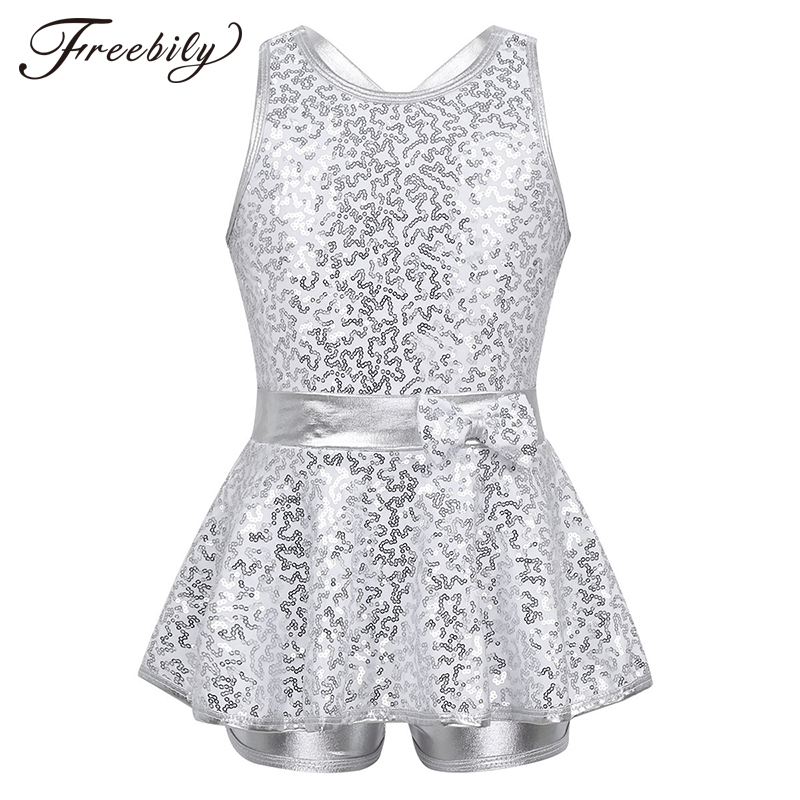 Teen Girls Jazz Modern Tap Dress Dance Costume Kids Sequined Criss Cross Back Bowknot Professional Ballet Dance Leotard Dress