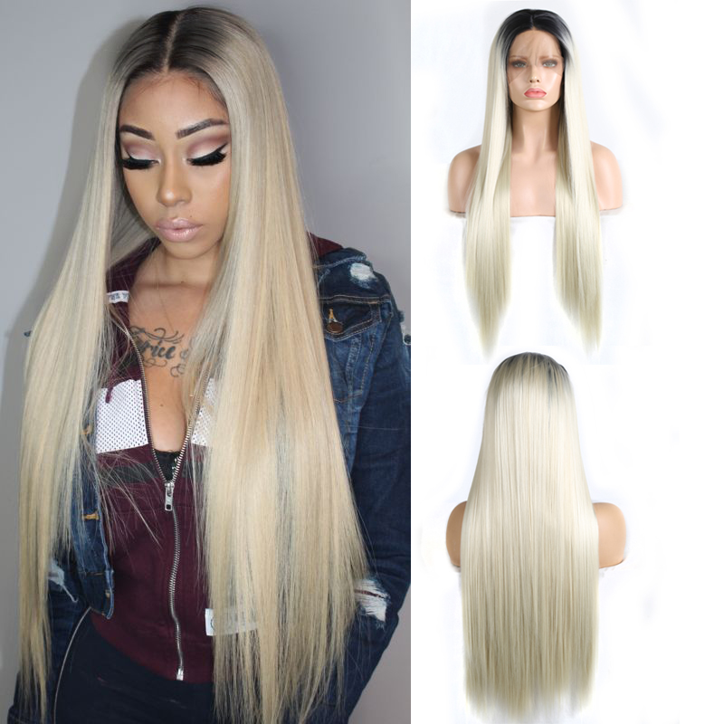 Charisma Ombre Blonde Wig Middle Part Long Silky Straight Hair Synthetic Lace Front Wig With Black Roots Ombre Wigs For Women