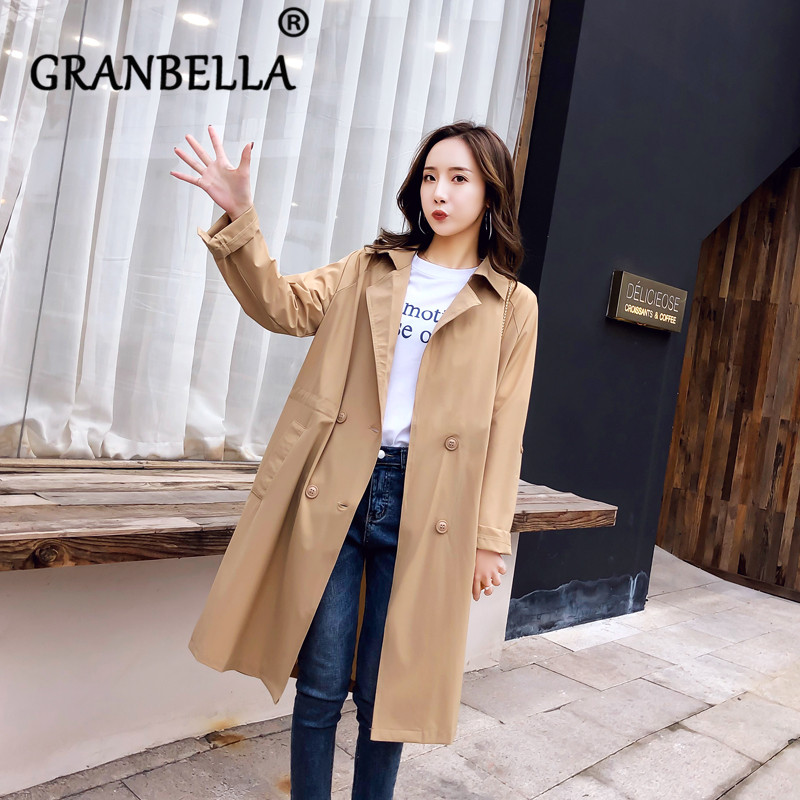 2019 Long and Thin Overcoat Long Sleeve Knee-Length Warm Women Casual   Trench   Coat Solid Color Elegant Female Coats