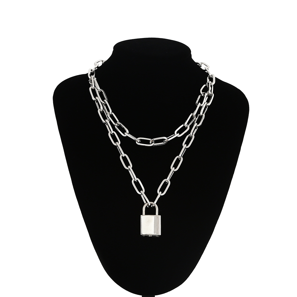 Double layer Lock Chain necklace punk 90s link chain silver color padlock pendant necklace women <font><b>fashion</b></font> gothic jewelry image