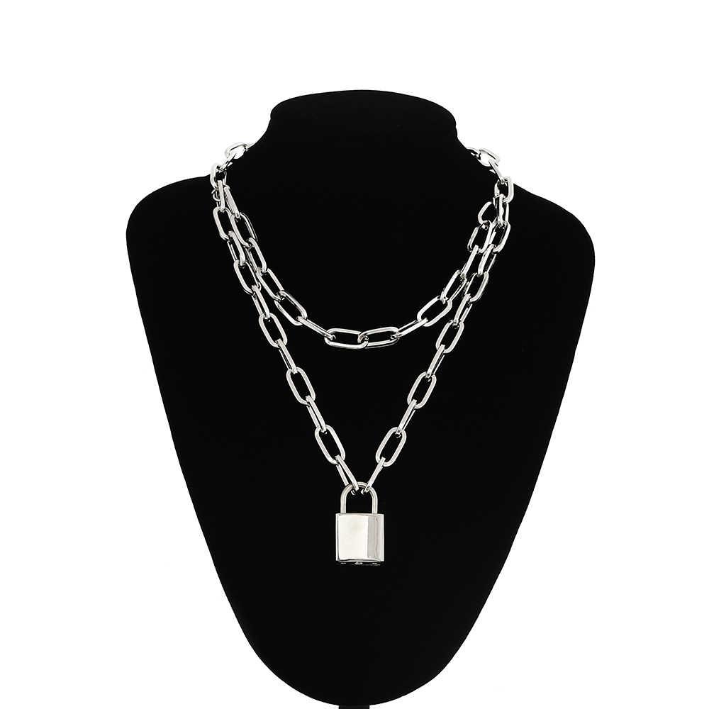 Podwójna warstwa blokady łańcucha naszyjnik punk 90s link Chain kolor srebrny kłódka naszyjnik kobiety moda gotycka biżuteria