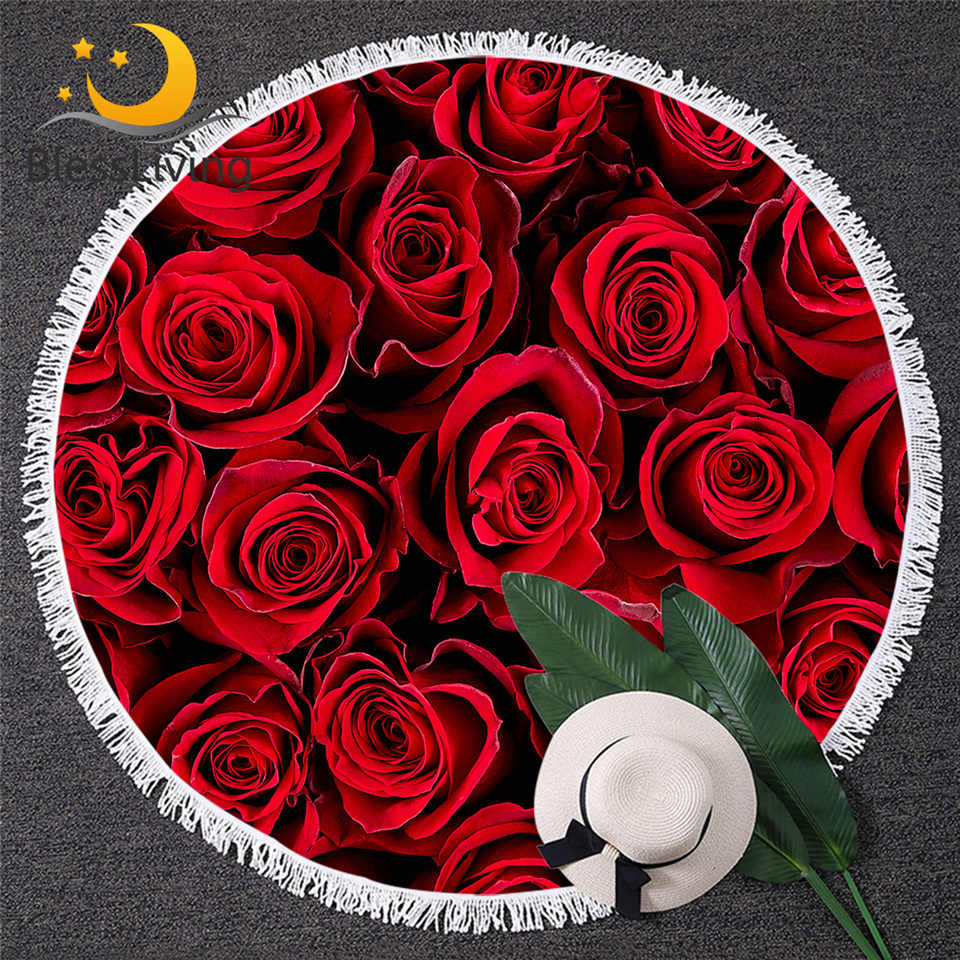 BlessLiving אדום ורדים חוף מגבת 7 צ 'אקרה פרח מיקרופייבר אמבט מגבות כותרת צבעוני קיץ שמיכת בצבעי מים חוף מחצלת