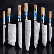 Aifud facas de cozinha conjunto japonês chef faca aço damasco vg10 carne cutelo pão afiada desossa santoku faca cor punho madeira
