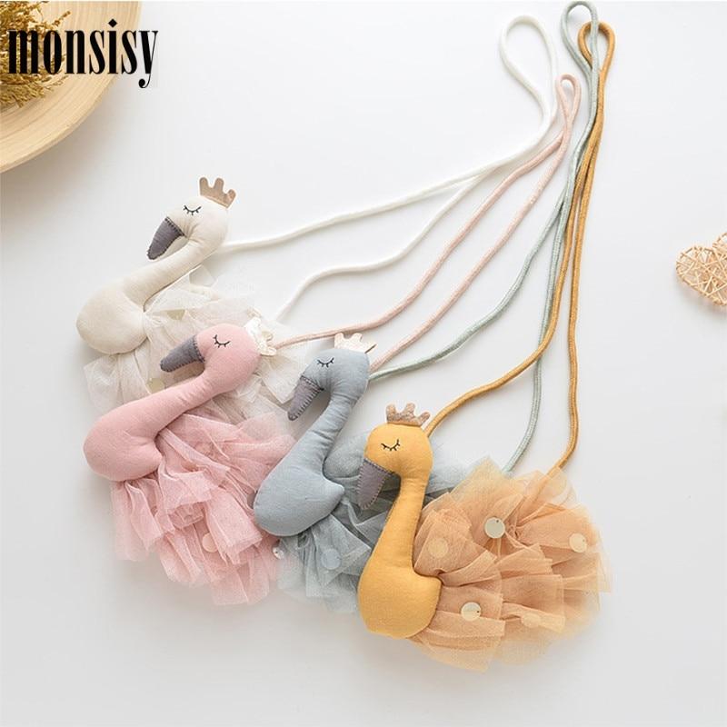Monsisy 20pcs Shiny Swan Coin Purse Crossbody Bag Children Wallet Kid Shoulder Bag Kawaii Lace Princess Baby Small Handbag Bolsa