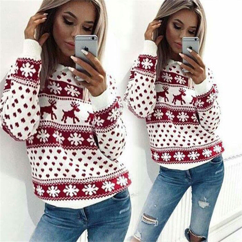 Winter Christmas Warm Knitted Ugly Sweater Women Loose Jumper Pullovers Tops Coat Female Casual Deer Print Sweaters