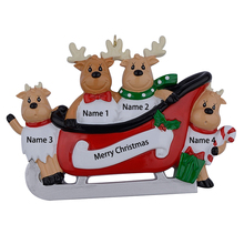 Resin Reindeer Family Sled Family Of 4 Christmas Ornaments Personalized Gifts For Holiday