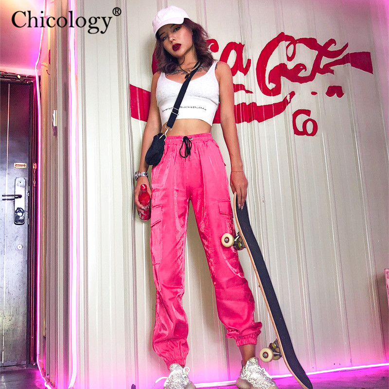 Chicology Women Pocket High Waist Neon Long Pants Streetwear Trouser 2019 Autumn Winter Female Casual Party Club Clothes