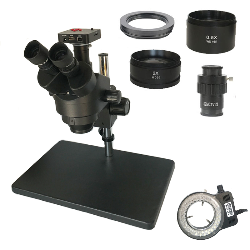 3.5X-90X  Simul-focal Trinocular Stereo Zoom Microscope Soldering SMD 38MP HDMI USB Microscopio Camera PCB Phone Jewelry Repair