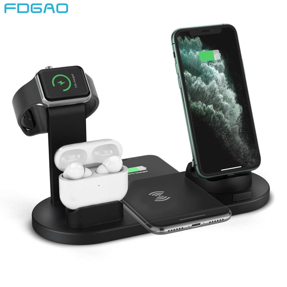 FDGAO Wireless Charger 4 in 1 Qi 10W Fast Charging Stand for Apple Watch 5 4 3 Airpods Pro Station Dock For iPhone 11 XS XR X 8