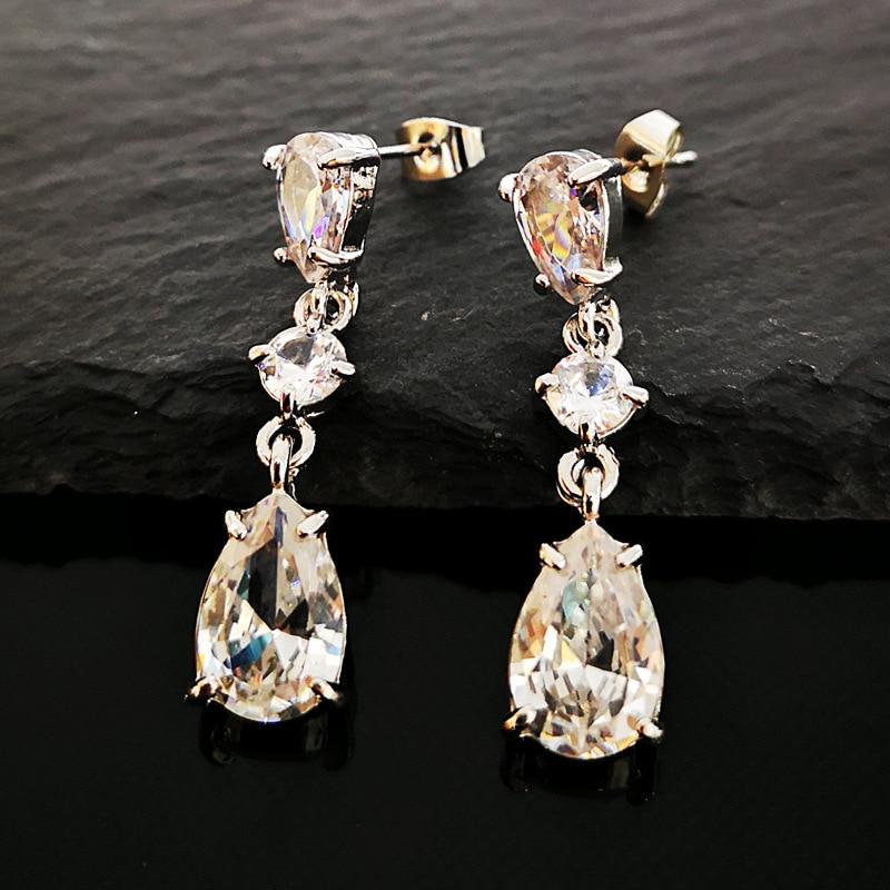 Bling White Crystal Teardrop Long Earring Bridal Drop Earrings for Women Fashion Wedding Jewelry Brincos boucle d'oreille H5M122