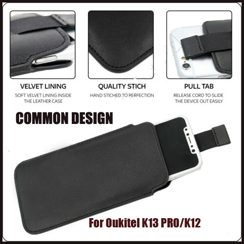Casteel PU Pull Tab Sleeve Pouch Leather <font><b>Case</b></font> For <font><b>Oukitel</b></font> <font><b>K13</b></font> <font><b>PRO</b></font> K12 Y1000 <font><b>Case</b></font> Cover image