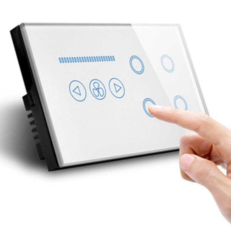 Smart WIFI Switch UK Plug 4 Gang WIFI Light Switch with Wifi Ceiling Fan Switch,Crystal Glass Panel,Work Alexa,Google