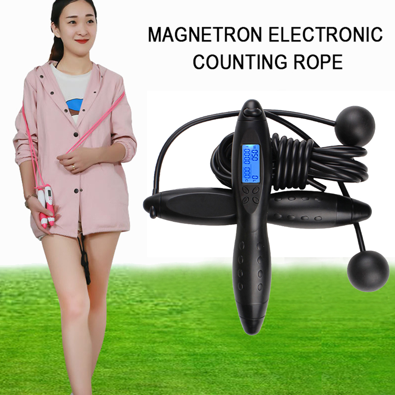 TOP!-Novel Multifunctional Magnetic Control Electronic Counting <font><b>Rope</b></font> <font><b>Skipping</b></font> Rubber <font><b>Handle</b></font> Four Key Calorie Wireless <font><b>Rope</b></font> Skipp image