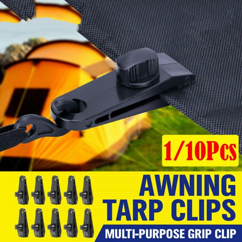 Reusable 10Pcs Windproof Clip Awning Clamp Tarp Clips Snap Hanger Tent Camping X