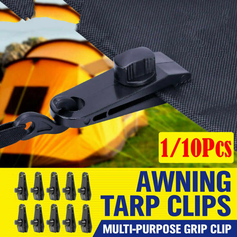 10pc Awning Tarp Clamp Clip Hanger Emergency Survival Tent Grommet Camping