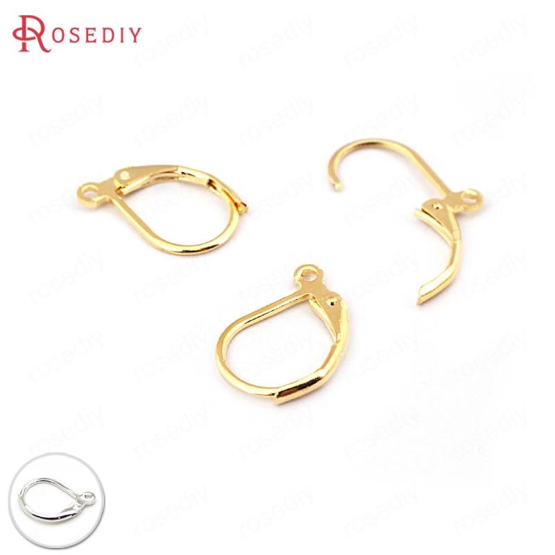 20pcs Platinum Plated Brass Earring Hooks DIY Settings 10mm Round Flat Tray 24mm